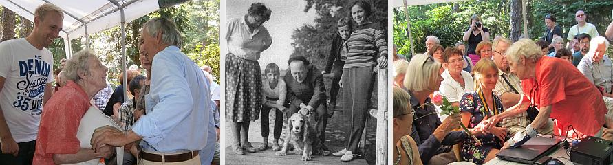 Frau Dalchau ist erfreut Marja und Bob Sondermeijer, den Enkel Heartfields, begrüßen zu können. Dem Freundeskreis überreicht sie Fotos, aufgenommen am Steg vor dem Sommerhaus. Sie besuchte John und Tutti des Öfteren in Waldsieverdorf.