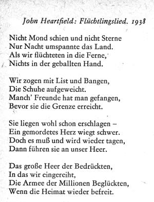 Flüchtlingslied, 1938, London