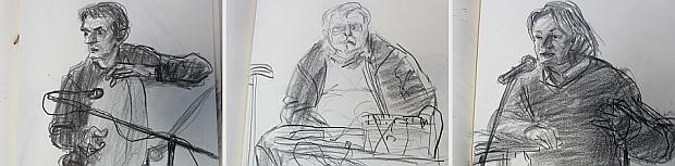 Manfred Butzmann zeichnete die Akteure in sein Skizzenbuch: den Musiker Mohammad Reza Mortazavi, den Tontechniker Jochen Opitz und den Künstler Ernst Volland.