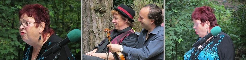 Nicht nur Karsten Troyke und Daniel Weltlinger amüsieren sich über die wunderbar vorgetragenen Texte durch Walfriede Schmitt.